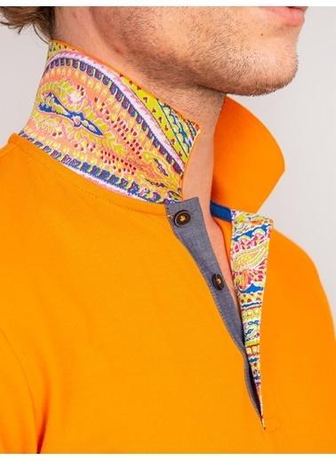 Dufy Lıla  Yaka Içı Detaylı Merserıze Pamuk Polo Yaka Erkek T-Shırt - Slım Fıt Oranj